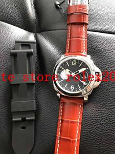 Boîte VS VS Luxury Hommes Noir P.9001 Mouvement automatique 88 25J Saphir verre brun en cuir marron 1950 GMT Imperméable Mens 44mm Montre
