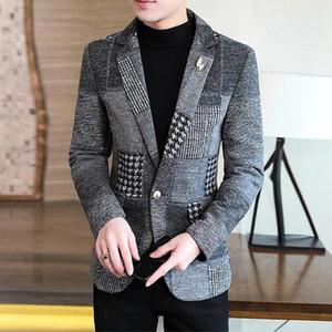 Mens Elegante Blazer quente grossa terno revestimento do revestimento com manta costura Blazer Hombre Slim Fit Prom Blazers For Men Homens de lã