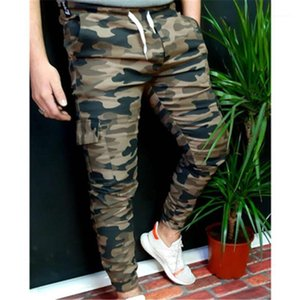 New Drawstring Casual Straight Slim Trousers Mens Camouflage Tooling Sweatpants Fashion Trend Sports Gym Pencil Pants Spring Male
