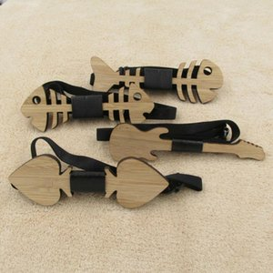 Fishbone 기타 심장 남성을위한 나무 나비 넥타이 클래식 Bowties Neckwear 수제 Butterfly1