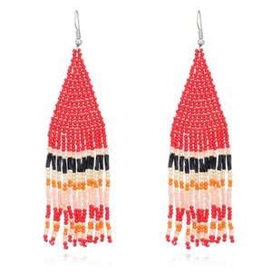 Tassel Earring Bohemian Vintage Earrings Ladies Fashion Bohemia Earings Beaded Handmade Female Earrings Boho Women Ear Studs sea GWA3501