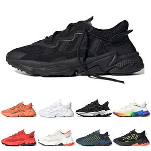 2020 Adidas Ozweego Homens Mulheres Sapatos casuais Orgulho reflexiva Neon Green Solar do Dia das Bruxas tons amarelos núcleo negro instrutor das sapatilhas esportivas