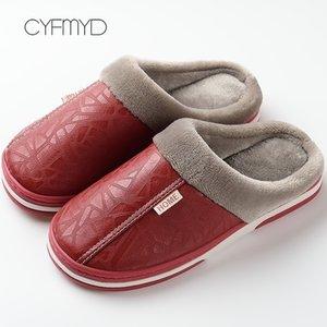 Pantofole da cyfmyd Pantofole interne impermeabili Inverno Pantofole piatte in pelle Memory Foam Cozy Coppia Pantofole da casa per le donne Big Size 35-50 Y201026