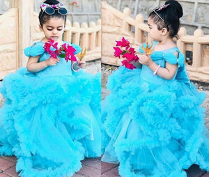 Princess Ball Gown Blue Flower Girl Dresses Tiered Ruffles Pageant Gowns Cinderella Kids Lovely Party Celerity Dress Tutu Skirt
