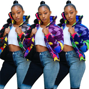 Tarnfarbe Puffer Padded Jacket Damen Herren gesteppte Wintermantel Designer wattierte Jacken Stehkragen Thick Outwear Tops Stoff F110303
