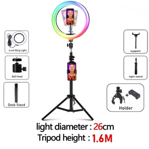 Dimmable RGB color LED ring light Tik Tok Selfie Ring Fill Light Photo Ring Lamp With Tripod For Makeup Video Live photpgraphy tiktok beauty