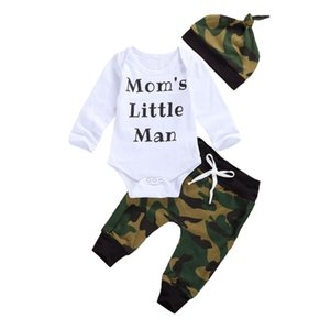 3Pcs Newborn Baby Boys Suit Clothes, Infant Kid Toddler Baby Long Sleeve Letter Print Casual Romper + Camouflage Pants + Hat Set