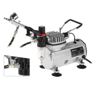 Spray Gun Airbrush Kit with Compressor Dual-Action Hobby Sandblaster Air Brush Nail kit Tattoo Art Paint Supply + Cleaning Brush