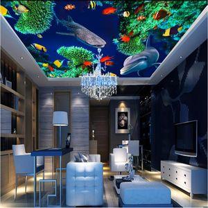 beibehang Wallpaper Mural European Underwater World Dolphin Fish Zenith Ceiling Mural papel de parede 3d para sala atacado