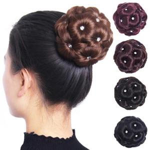 9 Flowers Faux Crystal Synthetic Bun Hair Extension Elastic Bridal Donut Chignon Wedding Bride Hairpiece For Hair Bun Ponytails