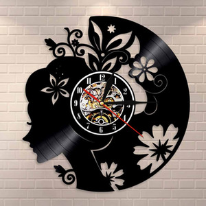 Girl With Floral Hair Wall Art Beautiful Lady Wall Clock Home Decor Watch Fashion Lady Flowers Hair Vinyl Record Wall Clock