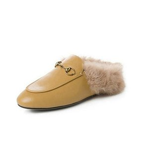 Mules Princetown Women Fur Slippers Mules with fur Flats Genuine Leather Designer Fashion Metal Chain Ladies Casual shoes f11