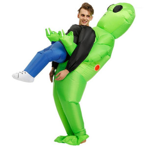 Halloween Costume for Women Men Inflatable Green Alien Cosplay Adult Funny Blow Up Suit Party Fancy Dress1