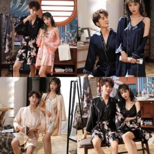 3TMC bain d'été en soie fleur de soie pyjamas de la soie quinquée de la soie femme de taille de la taille de la soie de grande taille à la maison Home Silk amovers peignoir homme peignoir chaud