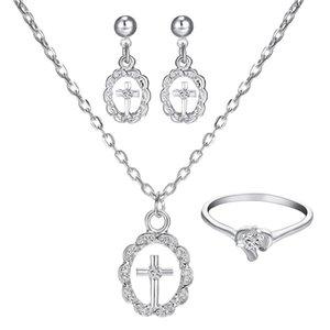 Women's Girl's Simple Design Round Cross Pendant Rhinestone Necklace Drop Earring Ring Jewelry Set gift