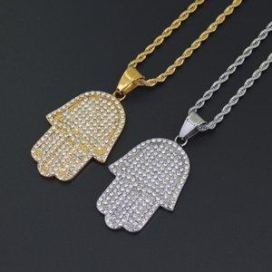 Regalo de Navidad del collar de Hip Hop Bling cadena de la torcedura de 24 pulgadas hombres de las mujeres de oro par color plata hacia fuera helado colgante de la mano de Hamsa con la CZ joyería