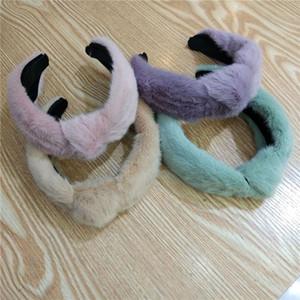 Trendy Faux Fur Knot fascia Pure Color New Soft Hairband coreano Wide Band capelli per le donne Accessori per capelli
