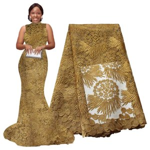 African Lace Fabric 5 yards High Quality Guipure Lace Tulle French Embroidered Mesh Fabric Gold White for African Wedding