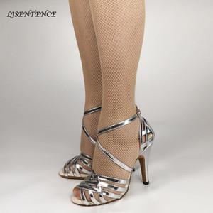 Mulher Prata Sapatos de dança Salto Lace Buckle Mulheres Salsa Chacha Bachata Dança Wedding Ballroom Sandals Senhoras Meninas faísca 201020