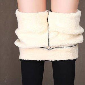 Black Warm Women Pantalones Invierno Flyny Thick Toca Velvet Fleece Fleece Leggings Mujeres Pantalones Mujeres Lambs CashMere Leggings Plus Tamaño 201203