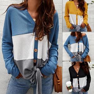Tricots Femmes Europe et Amérique du chandail des femmes de base Chemise à manches longues Sweatshirt femme Top femmes V-cou Cardigan
