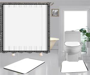 패션 간단한 샤워 커튼 3D 인쇄 된 홈 욕실 액세서리 4pcs 정장 방수 미끄럼 방지 화장실 매트