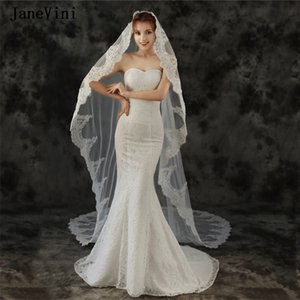 JaneVini Vintage Long Lace Edge White Ivory Wedding Veils Appliques 2021 One Layer Soft Tulle 3M Bridal Headwear Vail with Comb Encaje Boda