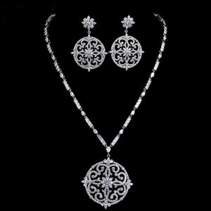 New luxury bridal jewelry set white gold colour cubic zircon big flower vintage wedding jewelry set Christmas gift
