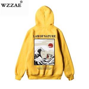 WZZAE Giapponese Ricamo Divertente Cat Wave Stampato Pile Felpe con cappuccio Inverno Giappone Stile Hip Hop Casual Felpe Streetwear Y201006