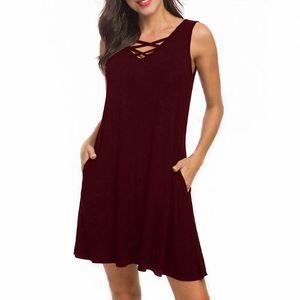 Повседневные платья женская мода летом без рукавов V-образным вырезом ремень футболка платье красный