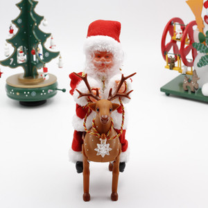 New Style Santa Claus dolls electric music Santa Claus elk cart baby doll toffs party Christmas decoration gifts