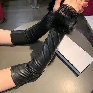 Lange Designer Handschuhe mit Box Leather Plus Velvet Frauen-Handschuhe Outdoor Radfahren Antrieb Warmhalte Hipster Fingerlose Handschuhe