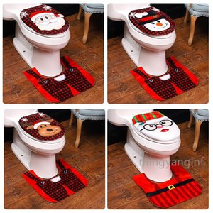 2 PCS Santa Claus Decoration for Toilet Bathroom Santa Toilet Seat Cover and Rug Set Xmas Gift Set MY-inf0440