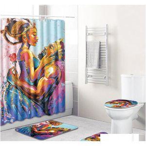The African Shower Curtain 4pcs Bathroom Rug Sets Women And Men Bath Mat Anti Slip Toilet Mat Carpet For Home De qylFcJ bdebaby