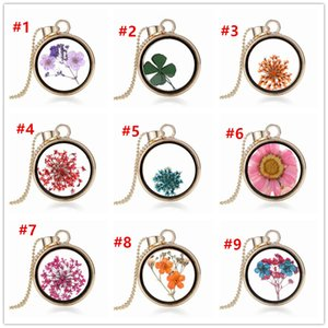 Dried Flower Necklace Secret Garden Crystal Perfume Bottle Pendant Chains Fashion Four-leaf clover Jewelry for Women