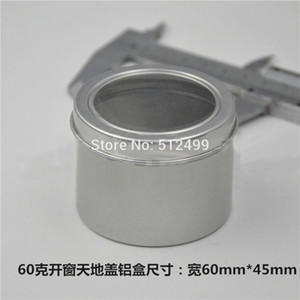 60g 50 100pcs lot Refillable empty round aluminum tin cans bottle Open window cosmetic container box jar