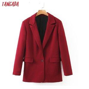 Tangada donne vintage solido vino rosso blazer femminile manica lunga elegante giacca signore lavoro usura blazer vestiti formali LJ201212