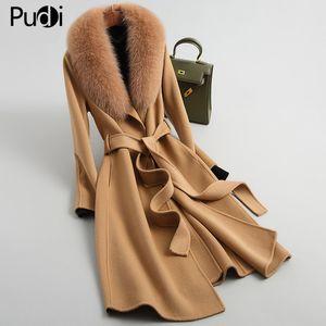 Pudi Women 90% Lana Bombers Abrigo Chaqueta con cuello de piel de zorro real Chaquetas LJ201110
