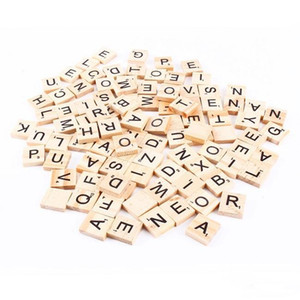 100pcs set Wooden Alphabet Scrabble Black Letters & Numbers For Crafts Wood Scrabble