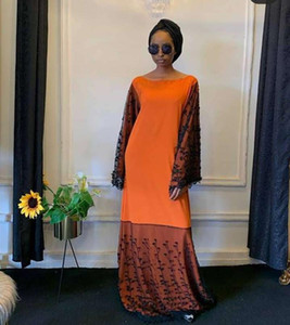 New Style African Women's Dashiki Fashion Christmas Dresses Lace Stitching Elastic Loose Long Dress Free Size