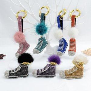 Xiangman jewelry new diamond creative basketball shoes Keychain mink hair ball bag Pendant