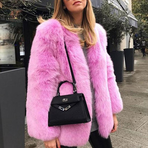 Kadınlar 6 Renkler Sahte Kürk Sıcak Uzun Kollu Seksi Ünlü Zarif Noel Gece kulübü Akşam Partisi Lady Kat Toptan