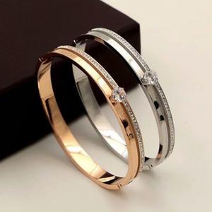 2020 Light luxury stainless steel inlaid zircon bracelet Roman six-claw single buckle bracelet Woman jewelry zircon bracelet with ordinary b
