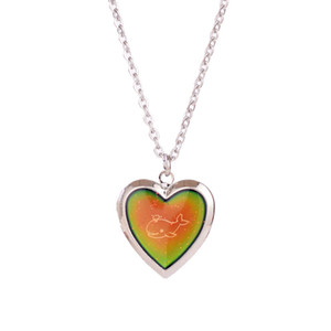 Mood Necklaces Heart dolphins Love Pendant Necklace Temperature Control Color Change Necklace Chain Jewellery Women