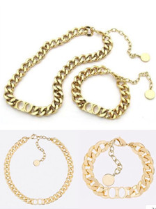Fashion letter 14k gold cuban link chain A set of necklace bracelet for mens and women Party lovers gift hip hop jewelry With BOX