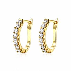 Bezel Setting Zirconia Hinged Hoop Earrings, European Style Jewelry Ear Earring Trendy Earings Gift for Women Girl Office Ladies