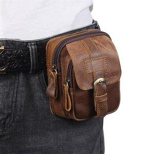 Men's Genuine Leather Waist Outdoor Multi-function Mens Mini Wear Mobile Phone Belt Tool Bag Coin Purse 201118