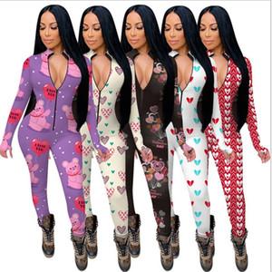 Frauen Jumpsuits Strampler Lange Ärmel V-Ausschnitt Designer Nachtwäsche Spielsuit Bodysuit Valentinstag Skinny Pyjama Onesies 5 Farben E122311