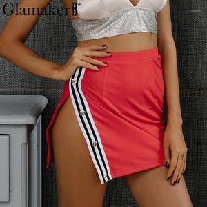 Venta al por mayor- Glamaker Lado sexy Split Split Mini Falda Mujeres Inferior Casual Raya Lápiz Falda Femenino Streetwear Negro Alto Cintura Falda Mujeres 20171