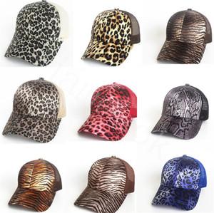 Leopard Print Ponytail Baseball Cap 9 Colors Mesh Hats Women Messy Bun Casual Hip Hop Snapbacks DB436